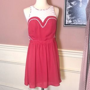 EUC Esley coral fitted dress